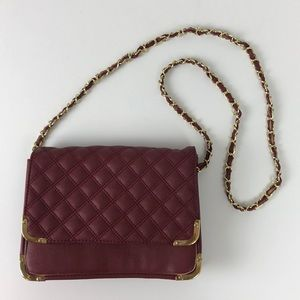 ASOS burgundy quilted crossbody bag purse